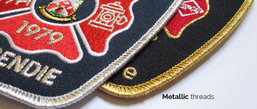 embroidered metallic thread